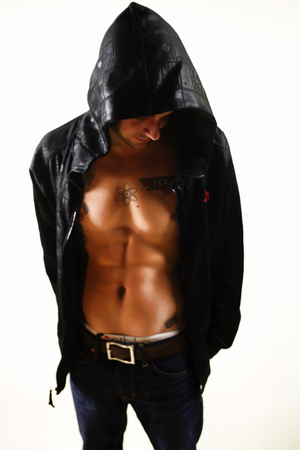 sexy man in hoodie Stock Photo