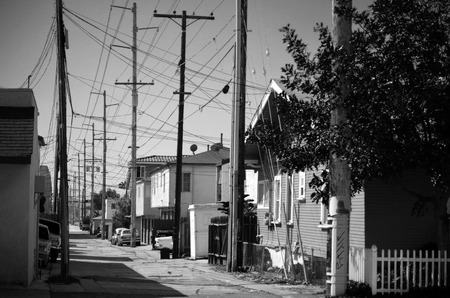 Alley with utility poles in Normal Heights, San Diego
