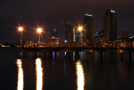 fishing pier: Night shot of fishing pier at Coronado Island looking towards downtown San Diego