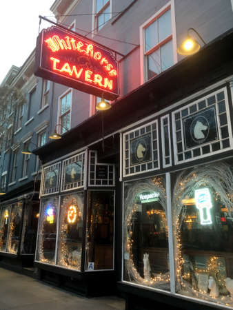 13 February 2018 - New York City: Exterior of the White Horse Tavern in Greenwich Village, Manhattan. Claims to be the second oldest pub in New York. Famous for attracting bohemian crowds and poets.