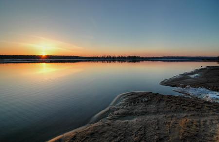 Sunset at lake Reklamní fotografie