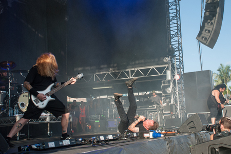 heavy metal: Heavy metal band Fear Factory live at Soundwave Festival in Brisbane 2015