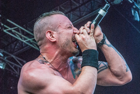 be: Heavy metal band Killer Be Killed Greg Puciato live at Soundwave Festival in Brisbane 2015