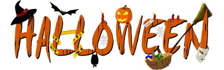 Halloween Banner on transparent Background  イラスト・ベクター素材