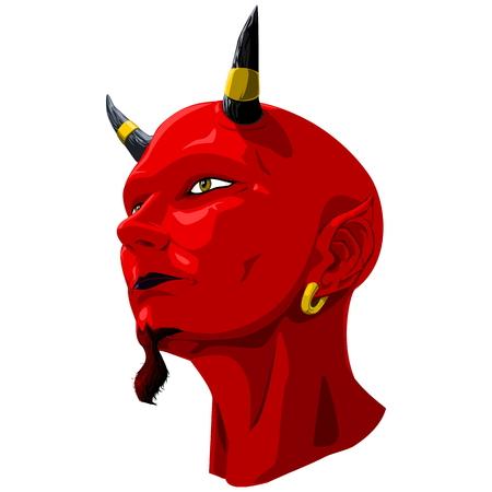 satan: La cabeza del diablo rojo sobre fondo transparente