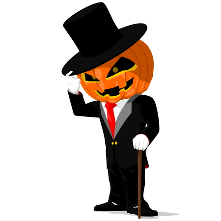 man in hat: Pumpkin in Black tuxedo on transparent background Illustration