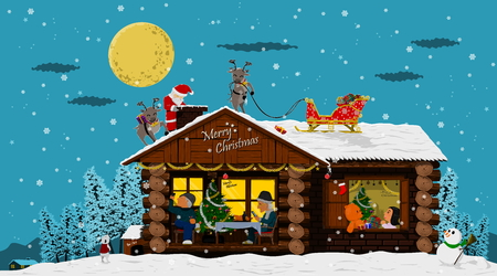 Christmas Background,Happy house  and Santa clause,there are so many story in this image