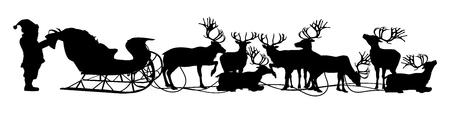 preparing: Christmas Background, Santa  his reindeer are preparing for their journey Illustration
