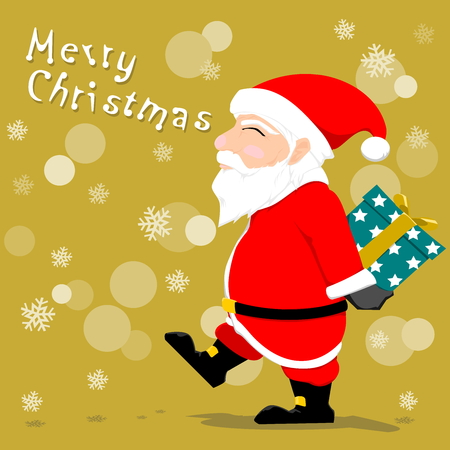 clause: Santa Clause hold a gift box  behind his back Illustration