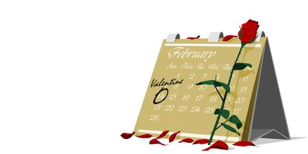 14 february: Rose on calendar,14 february marking