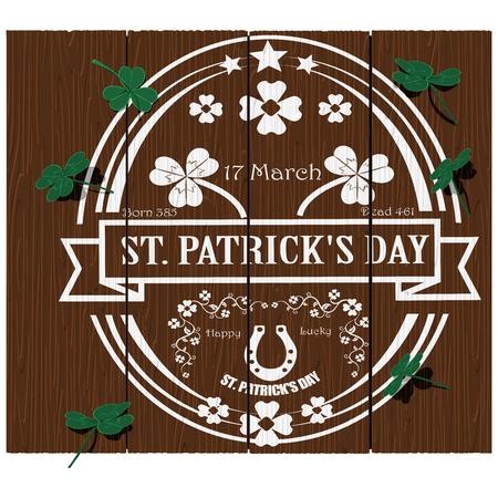irish banners: St.Patricks day logo on wood texture Illustration