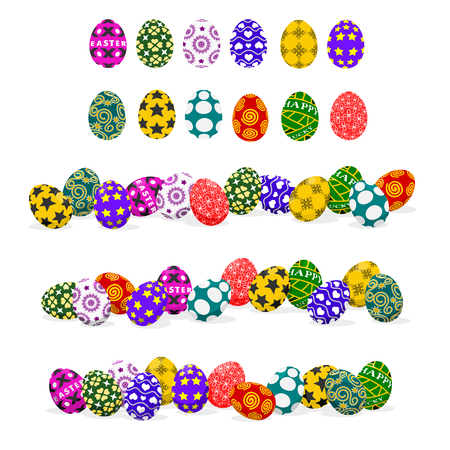 basic: 12 basic Easter eggs without shadow and 3 composition of 12 eggs with light and shadow