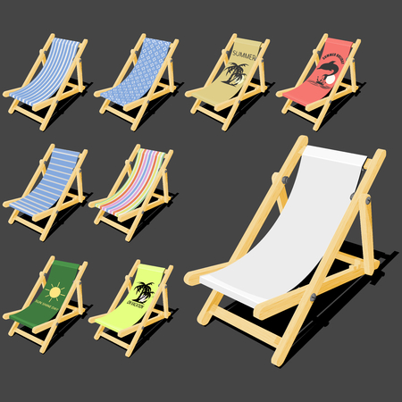 deck chair isolated: isolated deck chair with wood texture for creating your own pattern on it and the free 8 finished  pattern Illustration