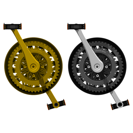wheel change: 2 isolated crank sets gold and silver shade Illustration