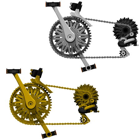 assemble: 2 isolated bicycle transmission sets gold and silver shade