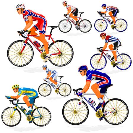 israel people: National Cyclist  of Costa Rica,Croatia,Cuba,England,Israel,Norway,Ukraine on transparent background Illustration