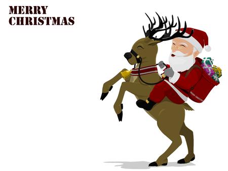 santaclause: Santa is riding reindeer on transparent Illustration