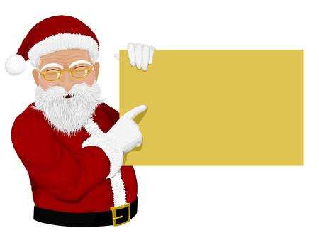 advertisment: Santa presenting advertisment board. High definition of texture and you can manage size and color of advertisement board freely