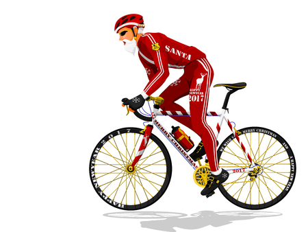 Santa is cycling on transparent