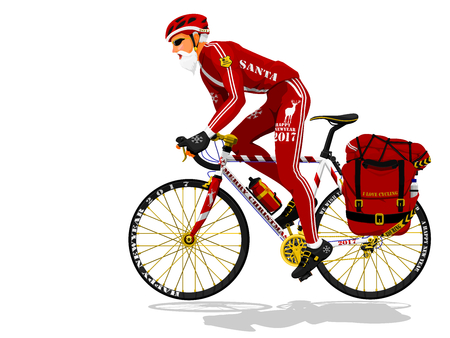ferm: Santa is riding touring bike on transparent Illustration