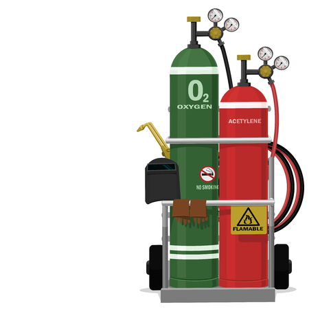 Isolated set of Gas welding equipment on transparent background
