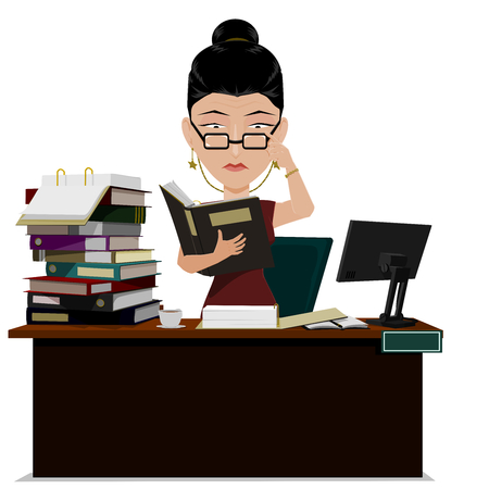 mess: Busy female Manager are verifying  document file on her desk Illustration