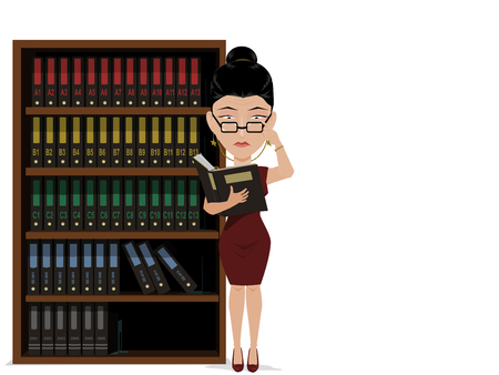 auditing: Businesswoman is seriously auditing document file  in front of the file shelf.