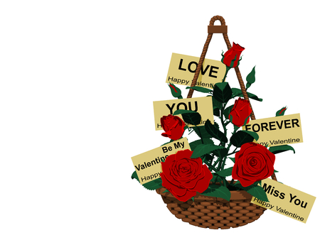 Many roses and valentine cards in the hanging Basket