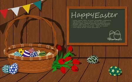 Easter basket on wood background