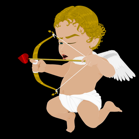 Isolated  flying Cupid on Black background 向量圖像