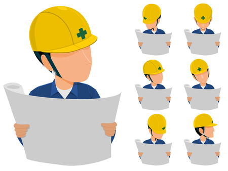 Set of engineer is reading drawing icon.