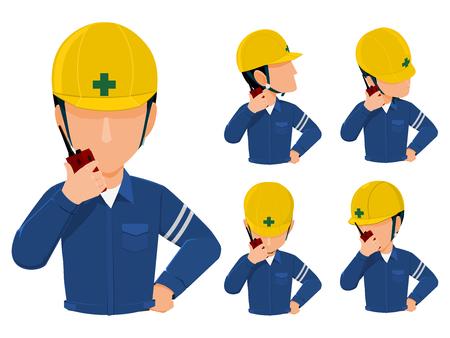 Set of worker using walkei talkie.