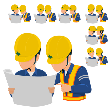 Two workers are discussing about construction plan. 向量圖像