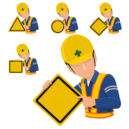 building site: worker holds blank warning sign. 4 types of warning sign. Let you assign your sign on it. Illustration