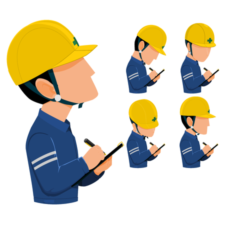 inspector are patrolling  construction site or factory. They are recording  something in their inspection sheet