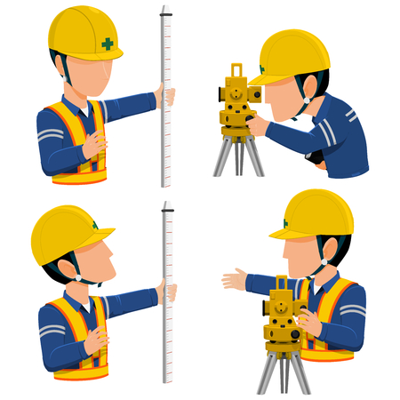 Info graphic of two workers are surveying  on transparent background.
