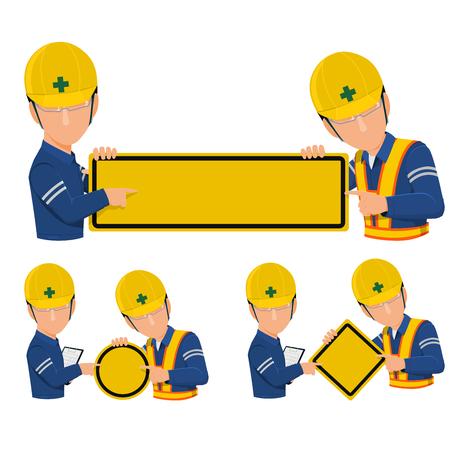 Icône de deux travailleurs présentent un panneau d'avertissement vide sur fond transparent.