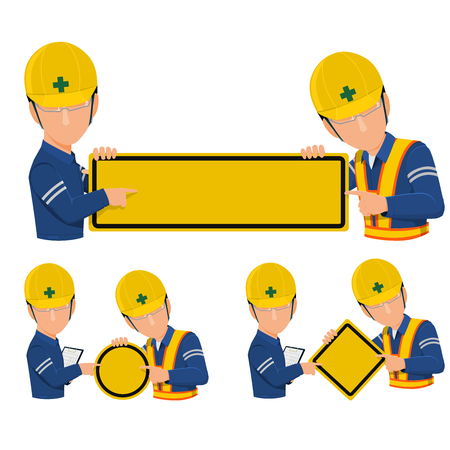 induce: Icon of two workers are presenting blank warning sign on transparent background. Illustration