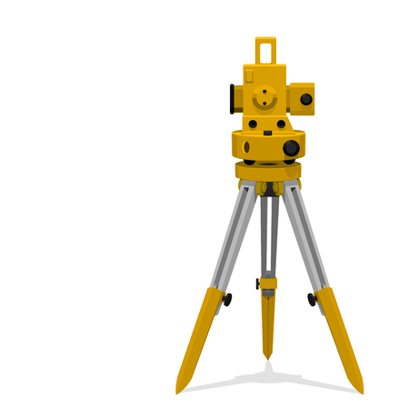geodesy: Isolate icon of theodolite on transparent background.