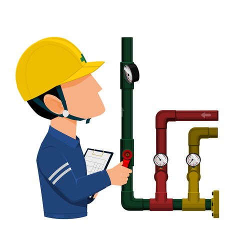Mechanical engineer are checking pressure in the fluid pipe