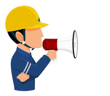 Icon of Industrial worker is announcing on transparent background