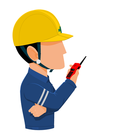 transceiver: A worker using transceiver Illustration
