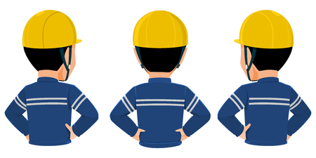 Back view od workers on transparent background