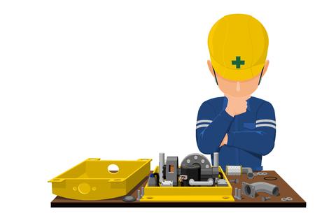 Mechanischer Ingenieur, der Problem analysiert.