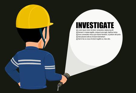 Worker with flashlight 向量圖像