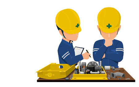 Workers are analyzing problem about machine