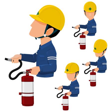 Worker using extinguisher on transparent background