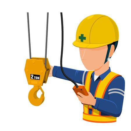 Worker using factory crane Illustration