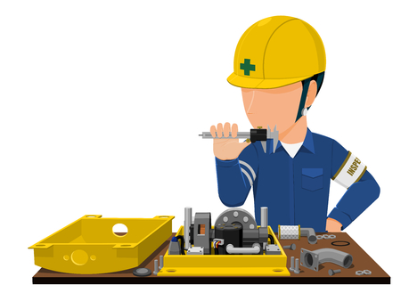inspector is inspecting machine part on transparent background Illustration