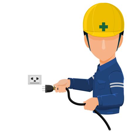 Worker is holding plug on transparent background 向量圖像